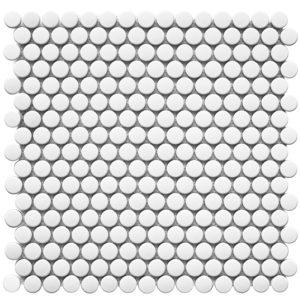 """Керамическая мозаика Starmosaic """"Homework"""" Penny Round White Matt (сетка 31.5Х30.9Х0.6 см)"""