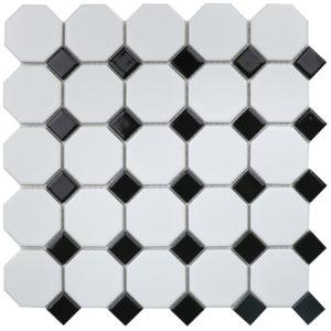 """Керамическая мозаика Starmosaic """"Homework"""" Octagon small White/Black Matt (сетка 29.5Х29.5Х0.6 см)"""