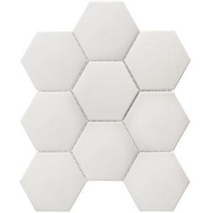 """Керамическая (противоскользящая) мозаика Starmosaic """"Homework"""" Hexagon Big White Antislip (сетка 29.5Х25.6Х0.6 см)"""