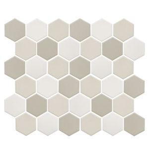 """Керамическая (противоскользящая) мозаика Starmosaic """"Homework"""" Hexagon Small LB Mix Antislip (сетка 32.5Х28.2Х0.6 см)"""