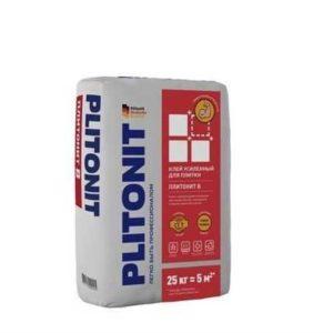 Клей для плитки и керамогранита Plitonit В усиленный с армирующими волокнами серый 25 кг