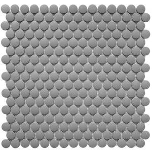 """Керамическая (противоскользящая) мозаика Starmosaic """"Homework"""" Penny Round Dark Grey Antislip (сетка 31.5Х30.9Х0.6 см)"""