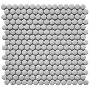 "Керамическая мозаика Starmosaic ""Homework"" Penny Round Grey Glossy (сетка 31.5Х30.9Х0.6 см)"