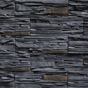 """Декоративный камень Bergstone """"Горный пик"""" 161919 Черный пепел (29.9Х10Х1.6-1.8 см)"""