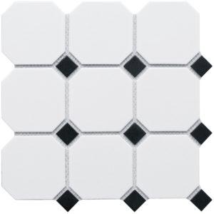 "Керамическая мозаика Starmosaic ""Homework"" Octagon big White/Black Matt (сетка 30Х30Х0.6 см)"