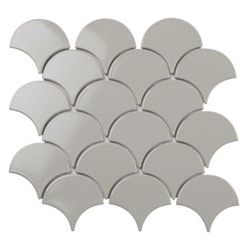 "Керамическая мозаика Starmosaic ""Homework"" Fan Shape Light Grey Glossy (сетка 29.3Х27.4Х0.6 см)"