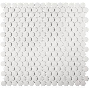 "Керамическая (противоскользящая) мозаика Starmosaic ""Homework"" Penny Round White Antislip (сетка 31.5Х30.9Х0.6 см)"