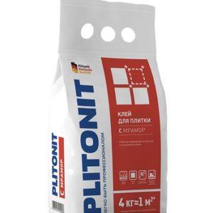 Клей для плитки Plitonit С Мрамор белый 4 кг