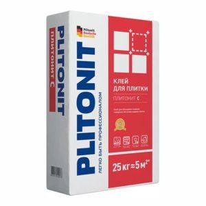 Клей для плитки, керамогранита и камня Plitonit С для облицовки сложных поверхностей серый 25 кг
