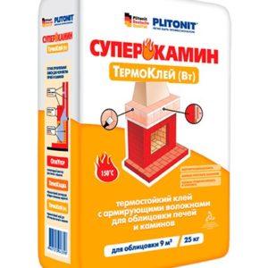 Клей для облицовки печей и каминов Plitonit СуперКамин ТермоКлей ВТ 25 кг