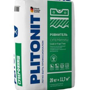 Ровнитель (наливной пол) финишный Plitonit Суперфиниш самовыравнивающийся быстротвердеющий 20 кг