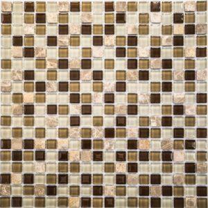 Стеклянная с камнем мозаика Bonaparte Scarlett (сетка 30Х30Х0.4 см)