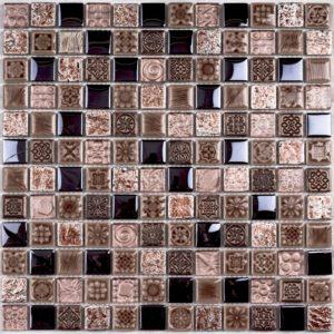 Стеклянная с камнем мозаика Bonaparte Sudan (сетка 30Х30Х0.8 см)