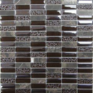 Стеклянная с камнем мозаика Bonaparte Super Line (brown) (сетка 30Х30Х0.8 см)