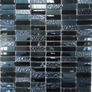 Стеклянная с камнем мозаика Bonaparte Super Line (black) (сетка 30Х30Х0.8 см)