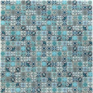 Стеклянная мозаика Bonaparte Xindi Blue (сетка 30Х30Х0.6 см)