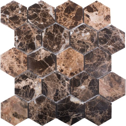 "Каменная мозаика Starmosaic ""Wild Stone"" HEXAGON DARK EMPERADOR POLISHED (сетка 28.2Х26Х0.8 см)"