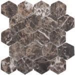 """Каменная мозаика Starmosaic """"Wild Stone"""" HEXAGON DARK EMPERADOR TUMBLED (сетка 28.2Х26Х0.8 см)"""