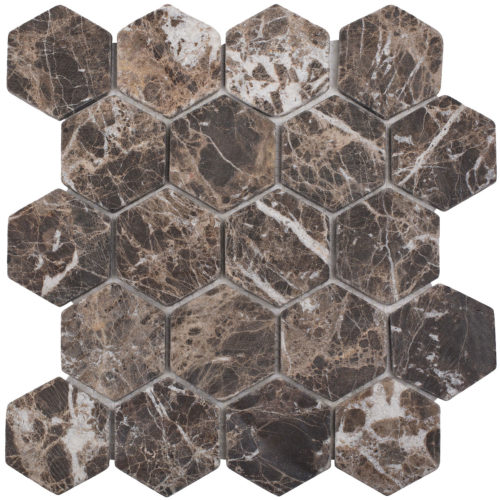 "Каменная мозаика Starmosaic ""Wild Stone"" HEXAGON DARK EMPERADOR TUMBLED (сетка 28.2Х26Х0.8 см)"