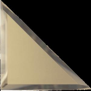 Треугольная зеркальная бронзовая матовая плитка с фацетом 10 мм ДСТ «ТЗБм1-15» (15Х15 см)