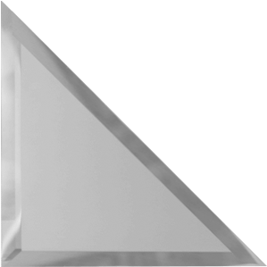 Треугольная зеркальная серебряная матовая плитка с фацетом 10 мм ДСТ «ТЗСм1-15» (15Х15 см)